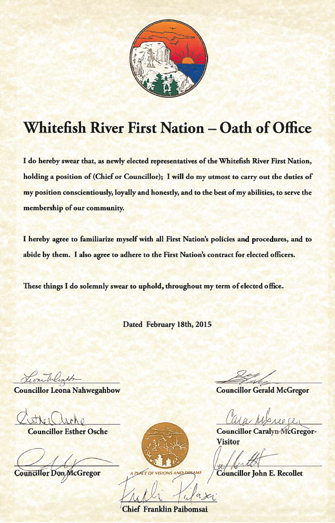 Oath of Office - Whitefish River First Nation
